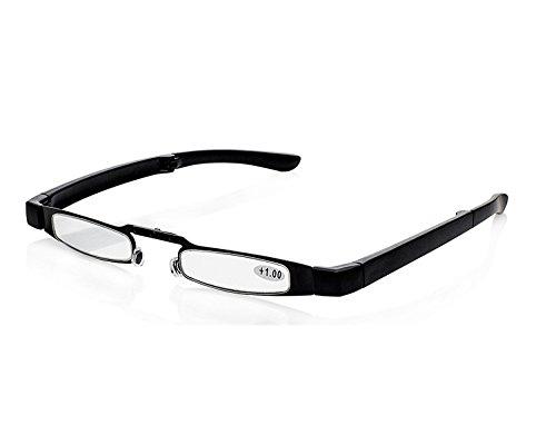 Men Women Thin Compact Lightweight Full Frame Pocket Reading Glasses Eyewear Portable Folding Eyeglasses Readers for Computer Book Menu Magazine Travel w/ Leatherette Pouch (1.50 strength)