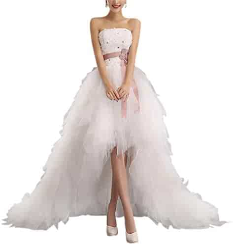 0dd98920c721 LeoGirl Womens High Low Strapless Wedding Dress Tiered Ruffles Bride Party  Gown