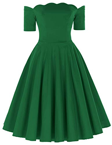 PAUL JONES Women's Vintage Dress Off The Shoulder Long Sleeve Cocktail Dress Size L Green -