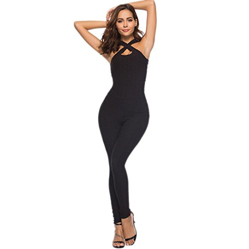 Price comparison product image SCSAlgin blouse Women's One-Piece Sport Yoga Jumpsuit Running Fitness Workout Gym Tight Pants (Black,  M)