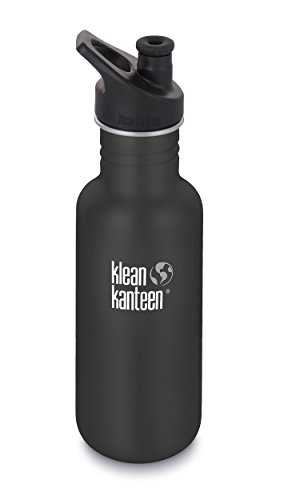 Klean Kanteen 18oz Classic Stainless Steel Water Bottle with Klean Coat, Single Wall and Leak Resistant Sport Cap 3.0 - Shale Black ()