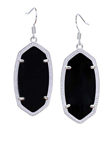 (Fashion Metal Oval Crystal Quartz Drop Dangle Earrings for Women (Silver(black)))