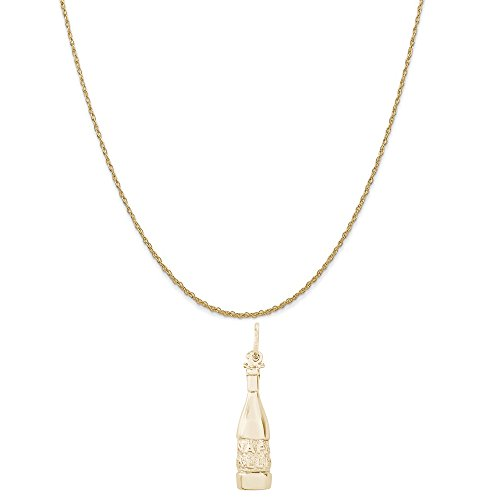 (Rembrandt Charms 10K Yellow Gold Napa Valley Wine Bottle Charm on a Rope Chain Necklace,)