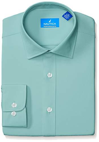 Nautica Men's Tech Classic Fit Spread Collar Dress Shirt, Turquoise Solid, 17-17.5 34-35 (Men Dress Shirt Nautica)