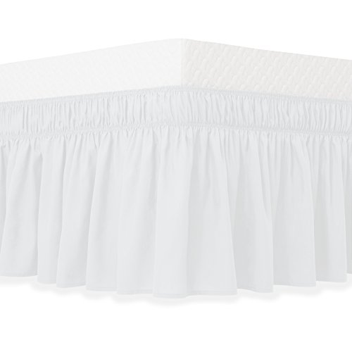 Guken Wrap Around Bed Skirt, Elastic Soft Bed Ruffle, Easy On and Easy Off, Wrinkle and Fade Resistant Solid Color Hotel Quality Fabric with 15 Inch Drop(White,King)