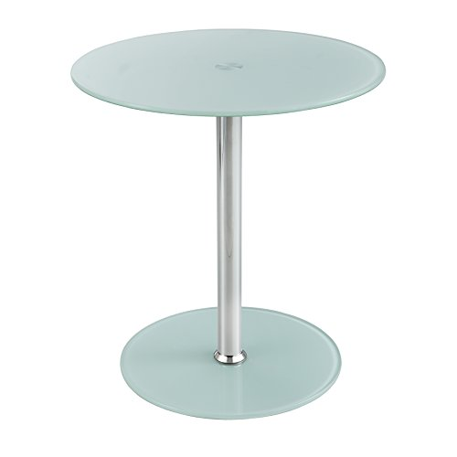 Safco Products 5095WH Glass Accent Table, White