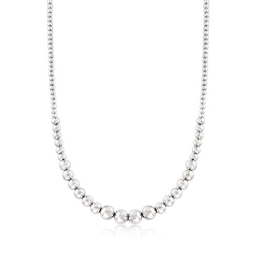 (Ross-Simons Italian 4-10mm Sterling Silver Graduated Bead Necklace. 17.5