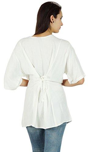 Botón vestido de verano de Boho Top manga corta Rayón Summer Down Túnica ocasional Blanco