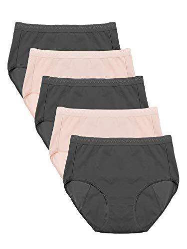 Intimate Portal Women Girls Teens Cotton Leak Proof Period Panties Incontinence Underwear 5-pk Black Beige XXS
