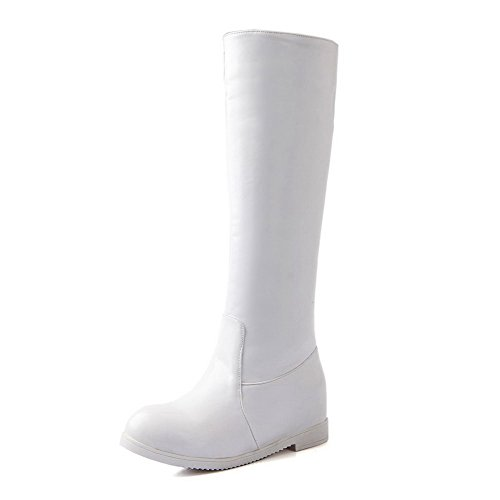 BalaMasa Womens Kitten Heels Knee High Solid PU Riding Boots White MVTSHT
