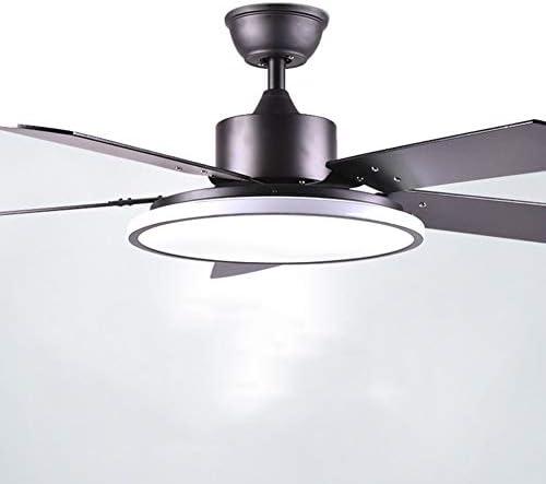 NAF Moderno 32/36/46/56 Pulgadas Ventilador de Techo silencioso Negro con Kit de luz LED, 5 aspas del Ventilador de Madera, Acrílico Pantalla de lámpara con Mando a Distancia: Amazon.es: Hogar