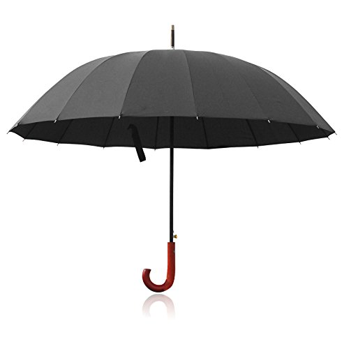 Becko 54 Inches Auto Open Umbrella Long Umbrella with 16 Ribs, Durable and Strong Enough for the Fierce Wind and Heavy Rain, Classic Style with Bent Handle, Unisex Rain Umbrella - Black