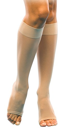 SIGVARIS Women's Sheer Fashion 120 Open Toe Calf Compression Hose 15-20mmHg