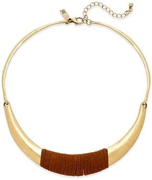 INC International Concepts Gold-Tone Faux-Suede Wrapped Collar Necklace