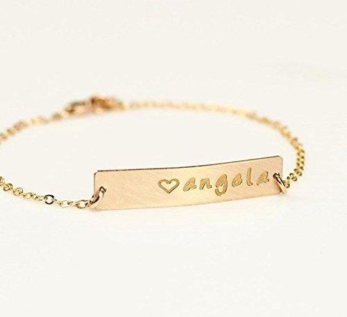 Name Plate Bar Bracelet, Personalized Gold Initial Pedant Bar Bracelet, Rose Gold Nameplate ID Medical Bracelet, Silver Roman Numerals Jewelry