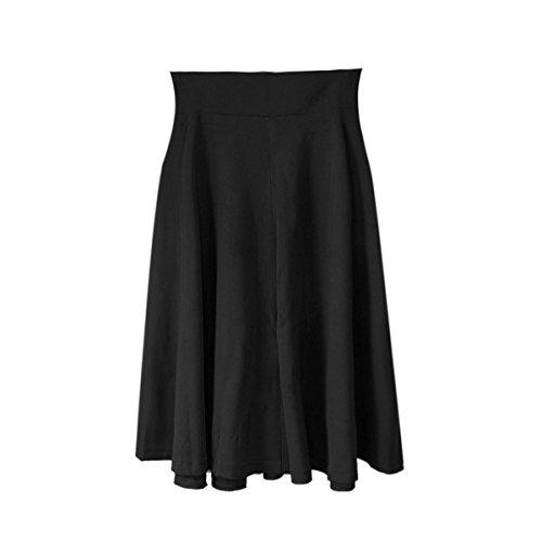 [Chakit* Women's Vintage Stretch High Waist Plain Skater Flared Pleated Long Skirt Dress (Black) (Size] (1970s Tennis Costume)