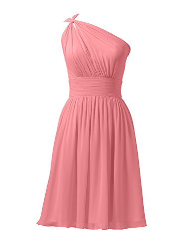 Alicepub Chiffon Bridesmaid Dresses Short Prom Party Dress Evening Gown Formal Gown, Coral Pink, US12 (Coral Dress Shoulder One)