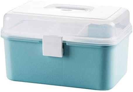 ファミリー収納ボックス ダブルレイヤーメディカルストレージボックス、小型ポータブルポータブルプラスチック医学のストレージボックスカバーに救急キット プラスチック製の収納ボックス (Color : Blue)