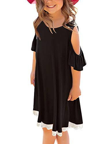 GRAPENT Girls Cold Shoulder Ruffled Short Sleeve Casual