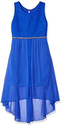 Amy Byer Girls' Big 7-16 Sleeveless High-Low Party Dress with Lace Bodice, Cobalt Blue,