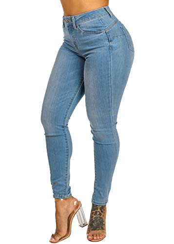 ModaXpressOnline High Rise Butt Lifting 1 Button Light Wash Skinny Jeans 10958R