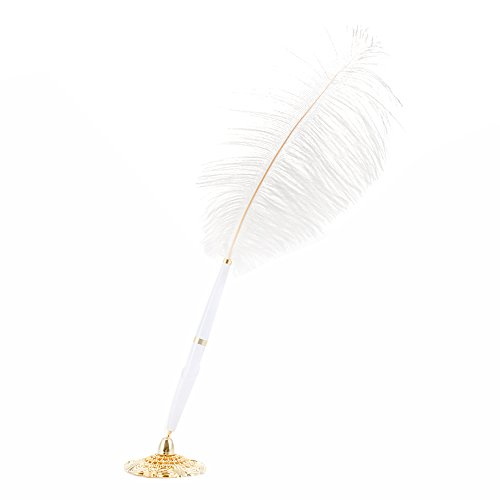 Adeeing Feather Ballpoint Pen with Holder Feather Signing Pen with Metal Holder Wedding Set Gold