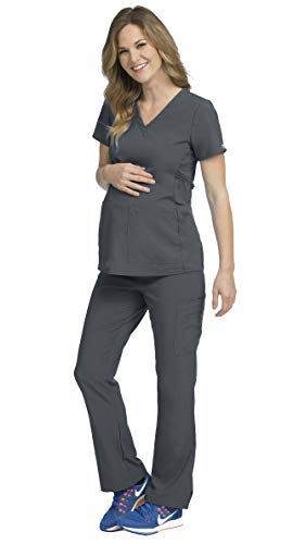 Med Couture Activate Women's Maternity Medical Uniforms Scrub Set Bundle- 8459 V-Neck Top & 8727 Knit Waist Panel Pants (Pewter - Small/Small)