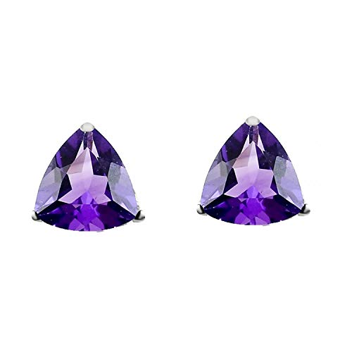 Sterling Silver with Trillion Natural Amethyst Stud Earring