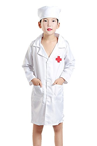 BOZEVON Adult Child Boy Girl Man Woman Doctor Apparel Nurse Costumes, Halloween Cosplay Costumes, Coat + Hat (Pink,UK 150 = Tag ()