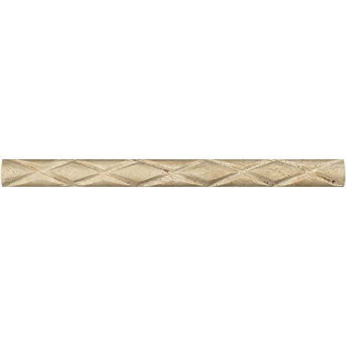 Meraki Honed Ivory Travertine Diamond Rope Liner, 1 x 12