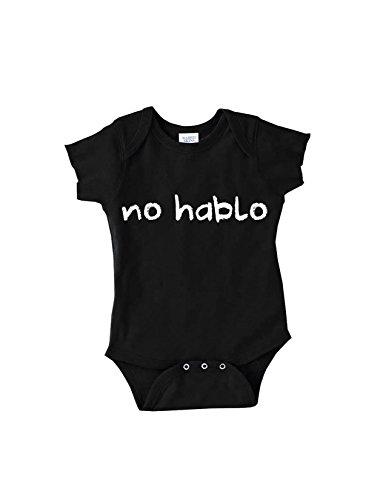 No Hablo Espanol Humorous Infant Onesie (12 Month, Black)
