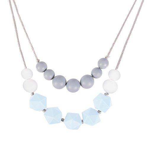 New Double Strand - Louie and Leo Layered Double Strand Silicone Teething Necklace for Mom (Pastel Blue)