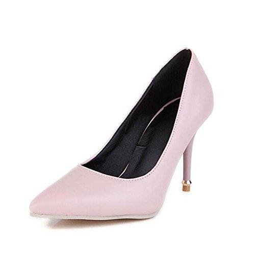 XIE Los Zapatos para Mujer de la Corte Calzan los Colores Elegantes del Caramelo del Dedo del pie Finos El Estilete Bombea los Zapatos, 37 PINK-38