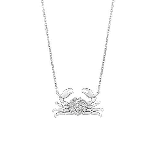 14k White Gold 0.18ctw. Diamond Crab 16