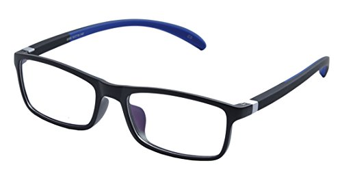 De Ding Plastic Frame Silicon Temple Reading Glasses (black blue, 2.00)