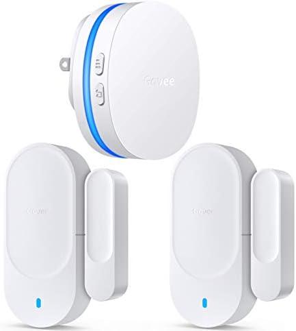[해외]Govee 도어 오픈 차임 업그레이드 가정사무실을 위한 마그네틱 도어 알람 센서 2개 어린이 안전을 위한 문 알람 무선 수신기 1개(328 피트) 36개의 튜닝 5개의 볼륨 레벨 LED 표시기) / Govee 도어 오픈 차임 업그레이드 가정사무실을 위한 마그네틱...