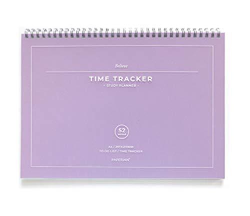 PAPERIAN Believe TIME Tracker - A4 Size Wirebound Undated Study Planner/to do List/Scheduler (Violet)