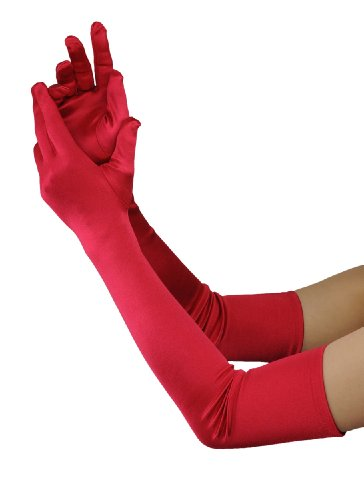 Women's 22 Inch Classic Adult Size Opera Length Satin Gloves (Red)]()