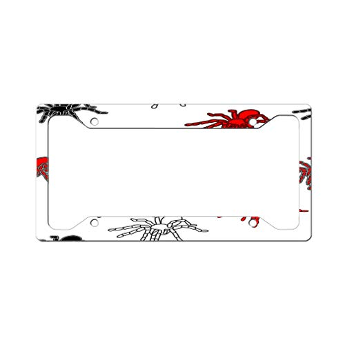 Custom License Plate Frame Halloween Spider Seamless Pattern Aluminum Cute Car Accessories Wide Top Design Only One Frame]()