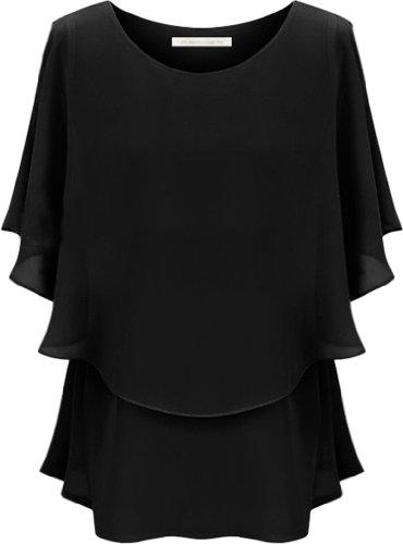 Andyshi para mujer gran tamaño cuello redondo gasa blusa vestido Asia tamaño negro