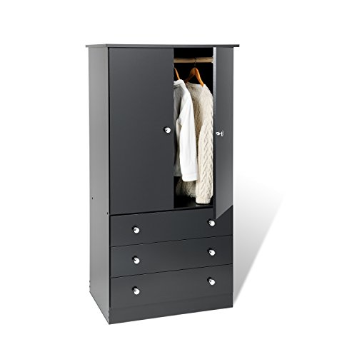 Best Deals! Black Edenvale 3 Drawer Wardrobe