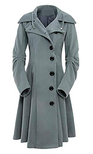 Cromoncent Womens Casual Wool Blend Single-Breasted Swing Pea Coats Gray X-Large