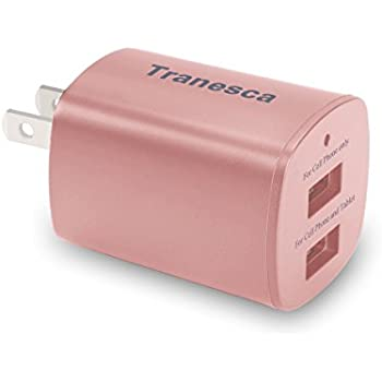 Tranesca 2-port USB travel Wall Charger for iPhone 7/7 Plus,iPhone 6/6plus,iPhone 5s/5, iPad Air / Pro / mini and More ( UL and FCC listed)-Rose Gold
