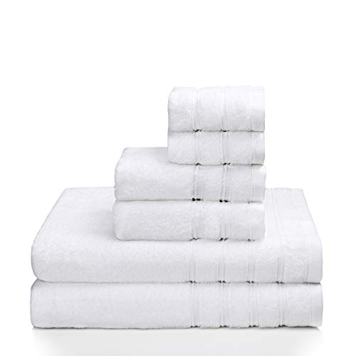 (PROMIC 100% Quality Cotton Hotel & Spa Bath Towel Set, 6 Piece Includes 2 Bath Towels, 2 Hand Towels, and 2 Washcloths - 500GSM, Highly Absorbent and Softness, (White))