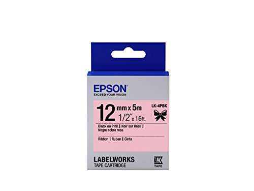 "Epson LabelWorks Ribbon LK (Replaces LC) Tape Cartridge ~1/2"" Black on Pink (LK-4PBK) - For use with LabelWorks LW-300, LW-400, LW-600P and LW-700 label printers"