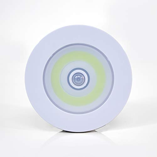 Over Lite- Wireless, Motion Activated, White Ceiling, Wall Light - Installs in Seconds -300 Lumens - 24 COB LEDs -Battery Powered- Detects Up to 10ft