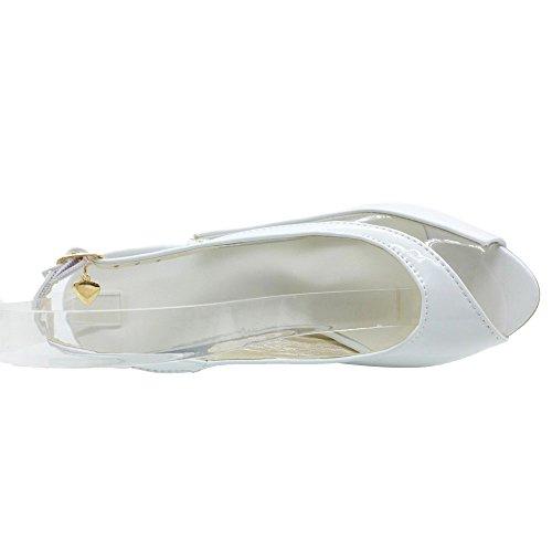 COOLCEPT Women Fashion Wedges Heels Shoes Slingback High Heel Pumps Shoes White nAMgSA