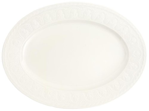 Cellini Oval Serving Platter by Villeroy & Boch - Premium Porcelain - Made in Germany - Dishwasher and Microwave Safe - Elegand Engraved Detail - 15.75 Inches