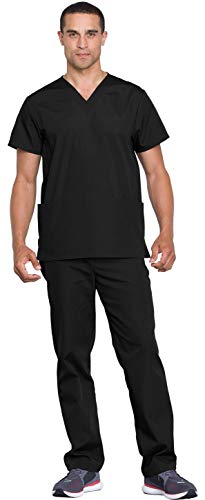 Cherokee Workwear WW530C Unisex Top and Pant Set Black 2XL