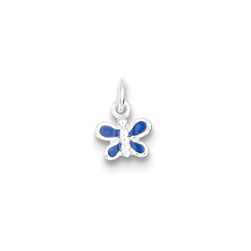 (.925 Sterling Silver Enameled Blue Butterfly Charm Pendant)